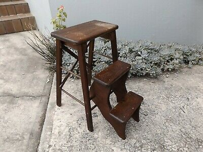 Vintage Wooden Stool With Fold Out Steps - Pick Up Ryde 2112