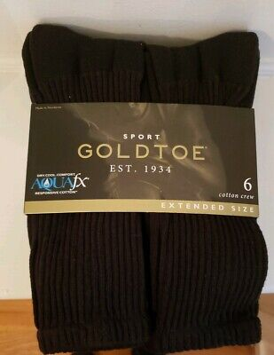Gold Toe Mens Cotton Extended Crew Big and Tall Athletic Sock, 6 pk Black