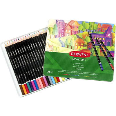 NEW IN TIN Derwent 24x ACADEMY Colouring In Colour Pencils Set Case 2301938