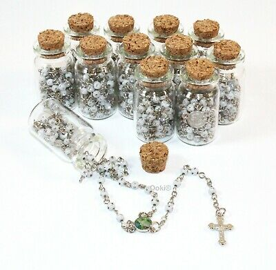 12 Rosary in Glass Guardian Angel White Beads CATHOLIC Crucifix Necklace Bottle