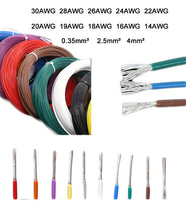 PTFE 30 28 26 24 22-14AWG Silver Plated Copper Wire Audio Stranded Cable Colors