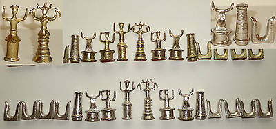 VINTAGE AFRICAN METAL CHESS SET GOLD SILVER ABSTRACT MID CENTURY MODERN 32p RARE