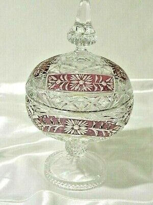 Vintage Mid 20 Century Stunning Large Hand Cut Crystal Ruby Compote