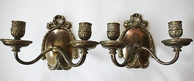 OFFERS!!! Two E. F. Caldwell French Bow Bronze Sconces.