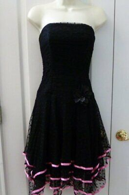 Cache 6 Sexy Black Lace Strapless Dress Pixie Hem Pink Trim Triple Layer Skirt
