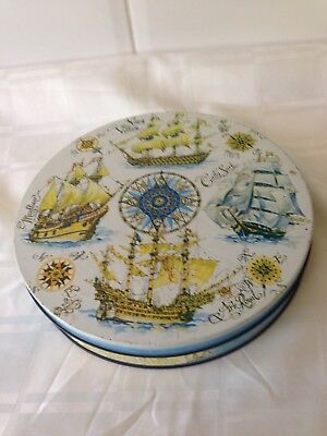 Antique Vintage Ship Tin container old Sewing Box With Needlework  Accessories