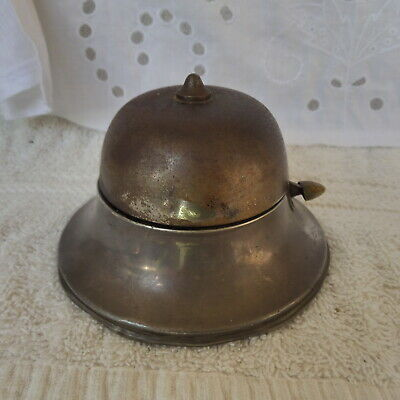 Antique Hallmarked Sterling Silver & Brass Shop Counter Desk  Bell  Chester 1909