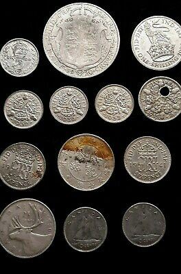 Lot of Old World Silver  Canada, Schilling, Three Pence, Half Crown, Kwang