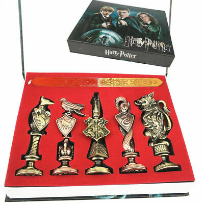 Harry Potter Hogwarts School Badge Vintage Wax Seal Stamp Collection Gifts + Box