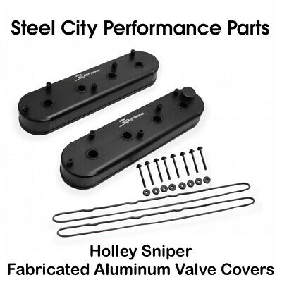 Sniper by Holley Valve Cover Set 890013; Slant Edge Fabricated Aluminum for SBF