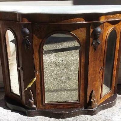 19Th Century Antique Serpentine Walnut Marquetry Credenza/Sideboard Mirror Doors