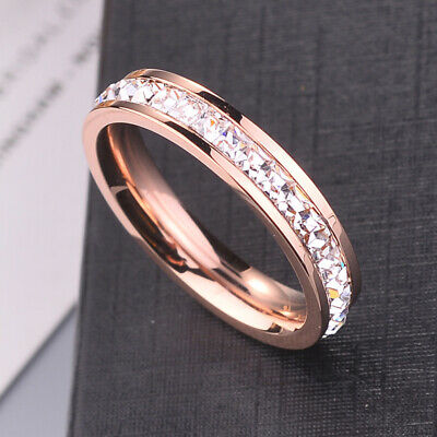 Silver/Rose Gold Titanium Steel Ring Men/Womens Stainless Wedding Band Sz5-9