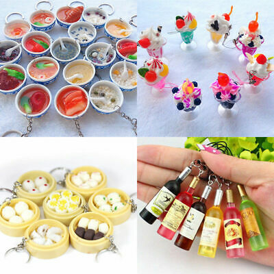 Mini Funny Food Keyring Handbag Purse Pendant Ring Bun Cocktail Mobile Key Chain
