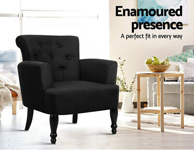 Lorraine Armchair French Provincial Chair Wing Armrest Vintage Lounge Black