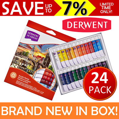 NEW IN PACK 24x Derwent ACADEMY Acrylic Paint Set 12ml Tubes Art Student R33005