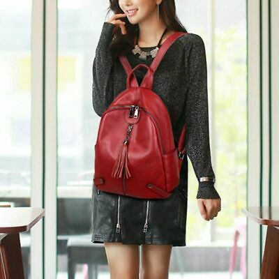 Women Genuine Leather Backpack with Tassels Daypack Schoolbag Casual Travel