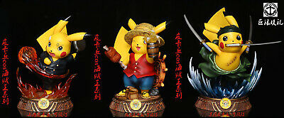 Pokemon Pikachu Cosplay One Piece Luffy Zoro Sanji Cute PVC Statue New