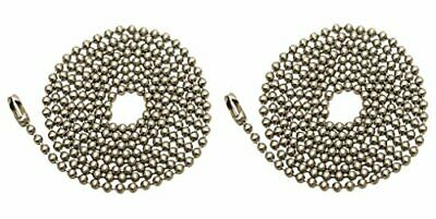 Pack Of 2 Pull Chain Extension 36 Inch Brushed Nickel 3-Feet Beaded Chain NEW