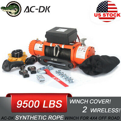 AC-DK 12V Electric Winch 9500lb Waterproof IP67 - synthetic rope for recovery!