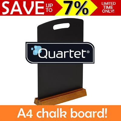 Quartet A4 Menu Chalk Board Wooden Stand Restaurants Cafes Table Top Counter BLK