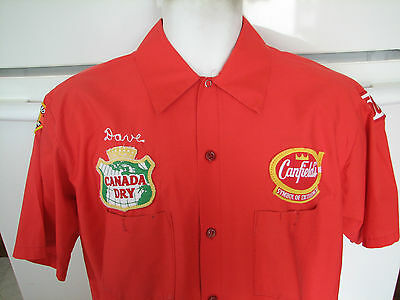 Canada Dry Barrel Head Rootbeer Canfield's soda beverage delivery shirt 1980s