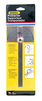 General Tools 17 Square Head Stainless Steel Angle Protractor, 0 to 180 Degrees,