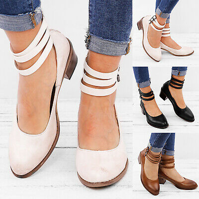 Womens Block Heels Ankle Strap Sandals Ladies Point Toe Work Casual Shoes Size