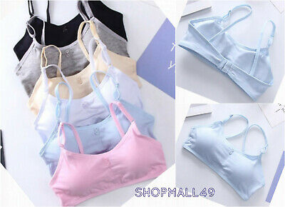 Girls Bra Crop top cotton underwear Adjustable white bras Age 9 10 11 12 years