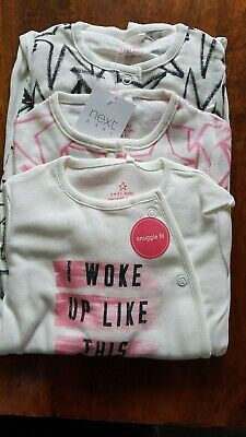 Next 3 Pack  I Woke Up Like This  Sleepsuits 12-18 Months