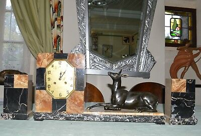 French Art Deco clock with garnitures-sitting spelter deer