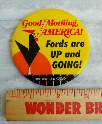 Vintage 1970s FORD TRACTORS America Farm Rooster Advertising Promo Button, 3""