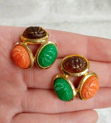 Vintage Carved SCARAB Egyptian Beetle Green Orange Brown Plastic Gold T Earrings