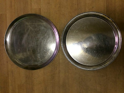 2 STAINLESS STEEL CATERING SERVING TRAYS HEAVY DUTY DIAMETER 360mm RESTAURANT