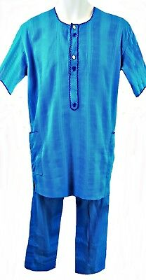 """African Cotton Turquoise Short Sleeve Tunic & Trousers, 36-38"""" Chest, Tr086"""