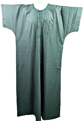 """Short Sleeve A-Line Grey Self-Embroidered Full Length Robe, 3Xl, 60"""", Tr096"""