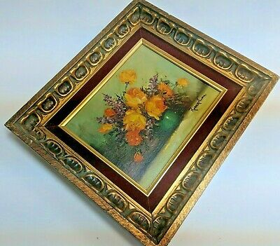 Framed and Signed Oil Painting- Robert Cox- (1934-2001) Yellow Orange Flowers