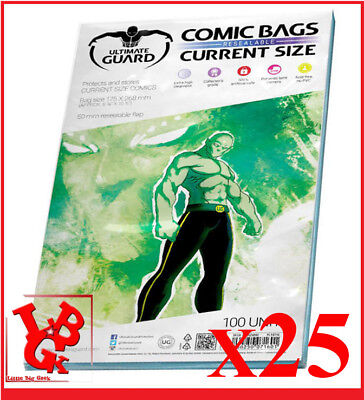 Pochettes Protection CURRENT Size REFERMABLES comics VO x 25 Marvel Bags # NEUF#