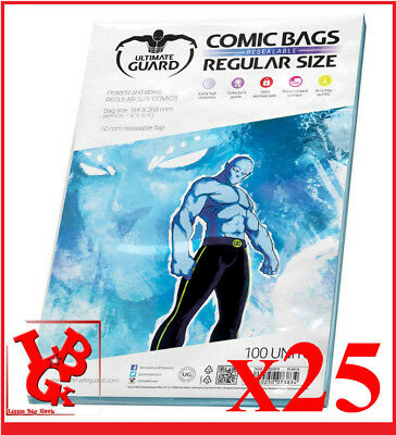 Pochettes Protection REGULAR Size REFERMABLES comics VO x 25 Marvel Bags # NEUF#