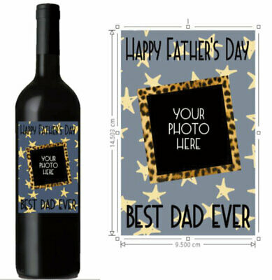 Personalised wine bottle sticker, Happy Father's  Day ADD OWN PHOTO - Dad Gift