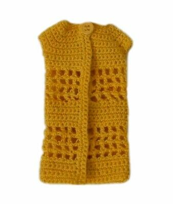 Barbie Doll Clothes Crochet One Button Long Cardigan Mustard Yellow Handmade