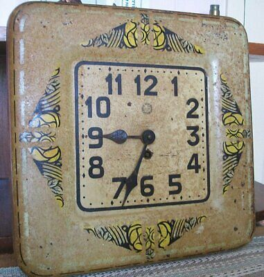 French 1920s/30s antique wall cafe clock-toleware