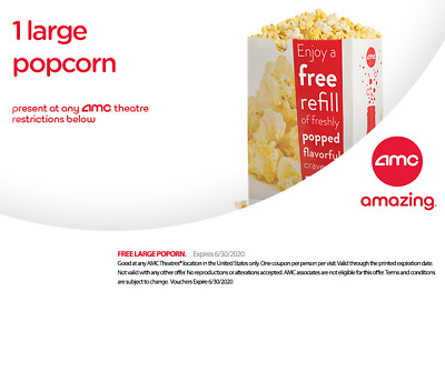 INSTANT DELIVERY - AMC  FREE 2 LARGE POPCORNS - exp 6/30/19.