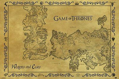 Game Of Thrones Antique Map 24X36 Poster Tv Series John Snow Film Wall Art Gift!