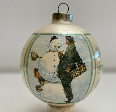 Norman Rockwell Snow Sculpture Christmas 1979 Glass Ornament Orig Box Vintage