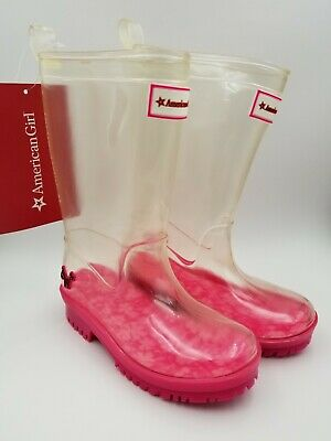 American Girl Wellie Wishers Girls PeekABoo Rain Boots Clear/Pink Size 10/11 NEW