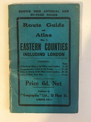 Map Geographia Original 1923 Route Guide & Atlas Eastern Counties Incl London