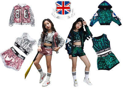 Street Dance Wear Costume Kids Girls Performance Sequins Modern Hip Hop Clothes