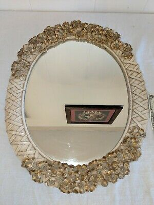 Vtg SYROCO Wall Hanging MIRROR Ornate Cottage WHITE GOLD Frame HOLLYWOOD REGENCY