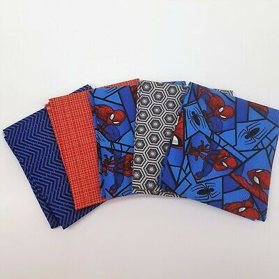 Fat Quarter Marvel Spiderman Red Wall Crawler Cotton Quilting Fabric Springs
