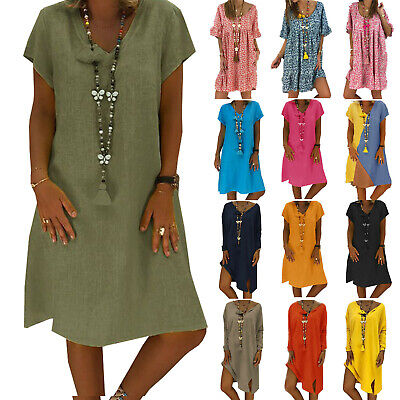 Womens Summer Pullover Plain Baggy T-Shirt Dress Tops Casual Sundress Size 8-22